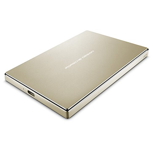 LaCie Porsche Design - Disco duro 2 TBpara MAC y PC (USB-C + USB 3.0) color dorado